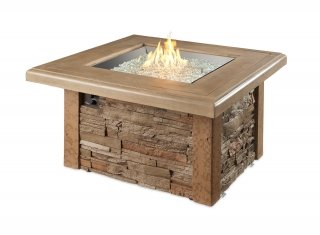 Unique, upscale look Sierra Square Gas Fire Pit Table by The Outdoor GreatRoom Company for your patio or backyard design