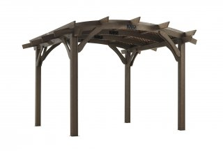 12' x 12' Mocha Sonoma Wood Pergola Kit with Lattice