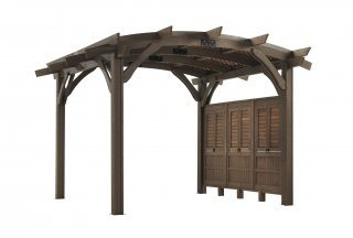 12' x 12' Mocha Sonoma Wood Pergola Kit w/ lattic and wall