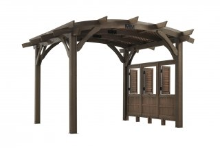 12' x 12' Mocha Sonoma Wood Pergola Kit w/ Lattice and Wall