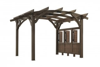 12' x 12' Mocha Sonoma Wood Pergola Kit w/ Wall