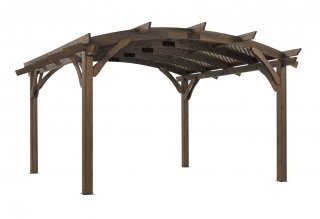 16' x 16' Mocha Sonoma Wood Pergola Kit w/ Lattice