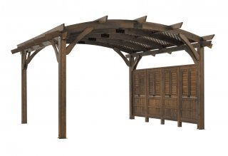 16' x 16' Mocha Sonoma Wood Pergola Kit w/ Lattice and Wall