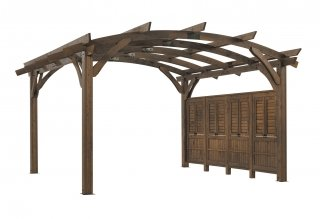 16' x 16' Mocha Sonoma Wood Pergola Kit w/ Wall