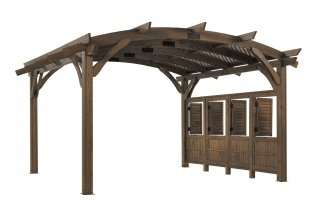 16' x 16' Mocha Sonoma Wood Pergola Kit w/ Wall and Lattice