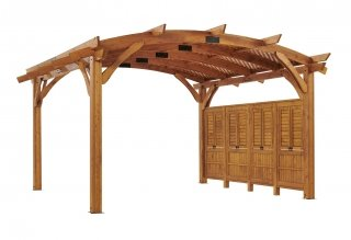 16' x 16' Redwood Sonoma Wood Pergola Kit w/ Lattice and Wall