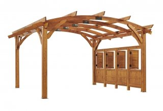 16' x 16' Redwood Sonoma Wood Pergola Kit w/ Wall