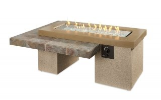 Modern, stylish design Brown Uptown Gas Fire Pit Table by The Outdoor GreatRoom Company for your unique patio or backyard