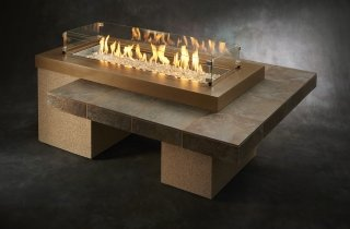 modern, granite design Brown Uptown Gas Fire Pit Table Glass Guard by The Outdoor GreatRoom Company for your modern patio or deck