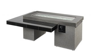 Modern, two-tier design Black Uptown Fire Pit Table flame off by The Outdoor GreatRoom Company for your backyard or patio