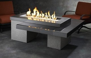 Stylish, modern design Black Uptown Gas Fire Pit Table by The Outdoor GreatRoom Company for your patio or backyard oasis