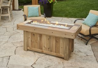 Distressed, vintage look Vintage Linear Gas Fire Pit Table by The Outdoor GreatRoom Company for your dream backyard space