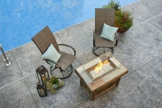 Trendy, welcoming design Vintage Rectangular Fire Pit Table with Glass Guard and Empire Dining Chairs by The Outdoor GreatRoom Company for your backyard and poolside entertaining
