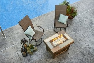 Stylish, distressed design Vintage Rectangular Gas Fire Pit Table and Empire Patio Chairs for your poolside or backyard space