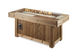 Distressed wood, trendy design Vintage Linear Gas Fire Pit Table by The Outdoor GreatRoom Company for your patio or deck