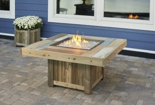 Stylish, upscale design Vintage Square Gas Fire Pit Table by The Outdoor GreatRoom Company for your patio or deck