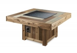 Versatile, functional design Vintage Rectangular Fire Pit Table with Burner Cover by The Outdoor GreatRoom Company for your patio entertaining and backyard gatherings
