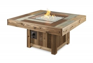 Unique, distressed wood style Vintage Rectangular Fire Pit Table by The Outdoor GreatRoom Company for your upscale patio or backyard design