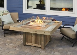 Distressed, colorful design Vintage Rectangular Fire Pit Table with Glass Guard by The Outdoor GreatRoom Company for your upscale patio or backyard design
