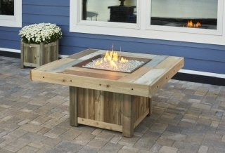 Unique, distressed cedar design Vintage Square Gas Fire Pit Table by The Outdoor GreatRoom Company for your upscale patio or deck