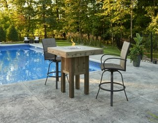 Unique, distressed design Westport Pub Gas Fire Pit Table by The Outdoor GreatRoom Company for your poolside or patio space