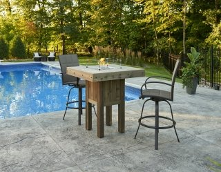 Stylish, unique design Westport Pub Height Gas Fire Pit Table with Empire Bar Stools by The Outdoor GreatRoom Company for your poolside or patio spot