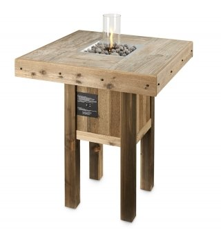 Stylish, distressed cedar design Westport Gas Fire Pit Table with Intrigue Lantern by The Outdoor GreatRoom Company for your patio or deck