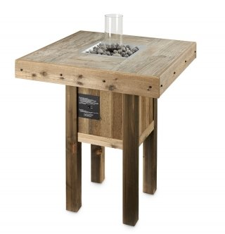 Unique, distressed look Westport Pub Gas Fire Pit Table with Intrigue Lantern by The Outdoor GreatRoom Company for your patio or poolside design