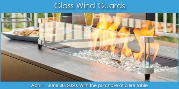 50% Glass Wind Guard Accessories Promotion by The Outdoor GreatRoom Company for your fire pit table