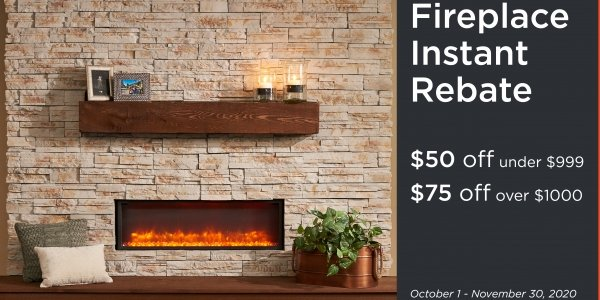 Instant Rebate on Electric Fireplace and Mantel Accessories for Fall