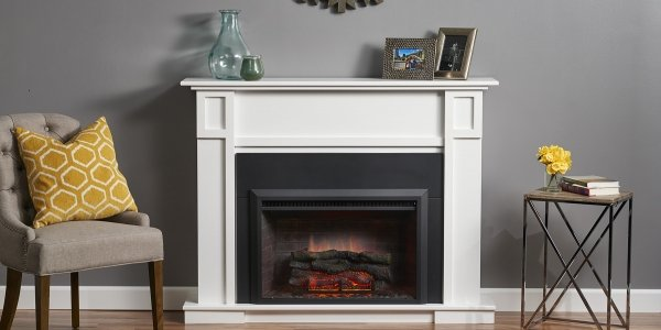 "32"" Zero Clearance Electric Fireplace insert with 36"" Surround in the Heritage Cabinet"