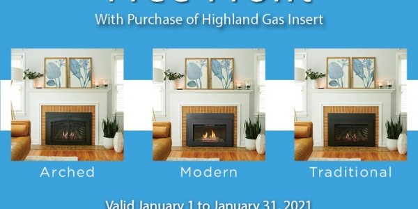 Promotional card highlighting Highland Gas Inserts (free front with purchase)