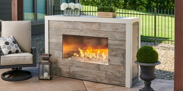 "Custom Finish over Ready-to-Finish 40"" Rectangular Outdoor Gas Fireplace for your patio or deck"