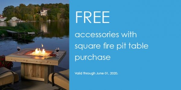 Free Accessories with Purchase of Select Square Gas Fire Pit Tables by The Outdoor GreatRoom Company